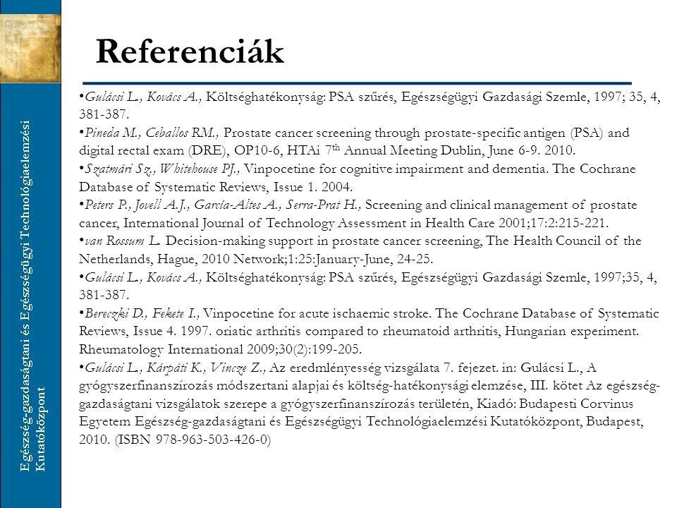 Referenciák Gulácsi L., Kovács A., Költséghatékonyság: PSA szűrés, Egészségügyi Gazdasági Szemle, 1997; 35, 4, 381-387.