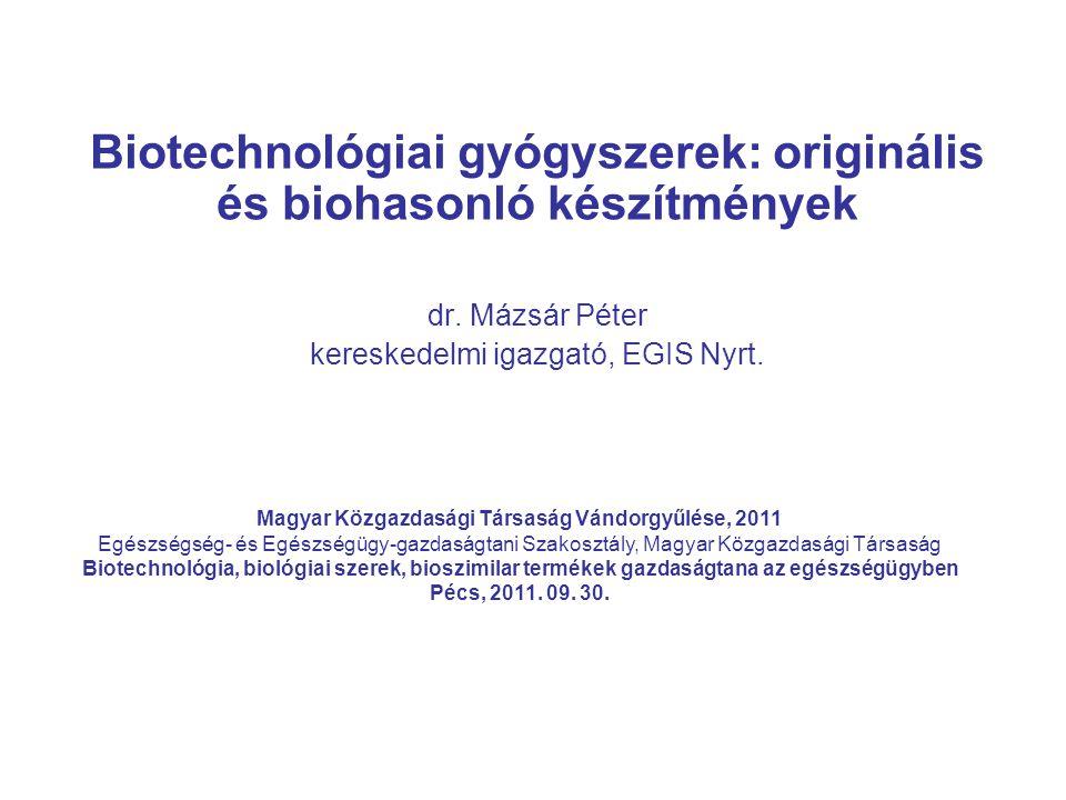 Biotechnológiai gyógyszerek: originális és biohasonló készítmények