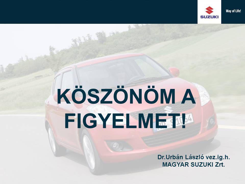 KÖSZÖNÖM A FIGYELMET! Dr.Urbán László vez.ig.h. MAGYAR SUZUKI Zrt.