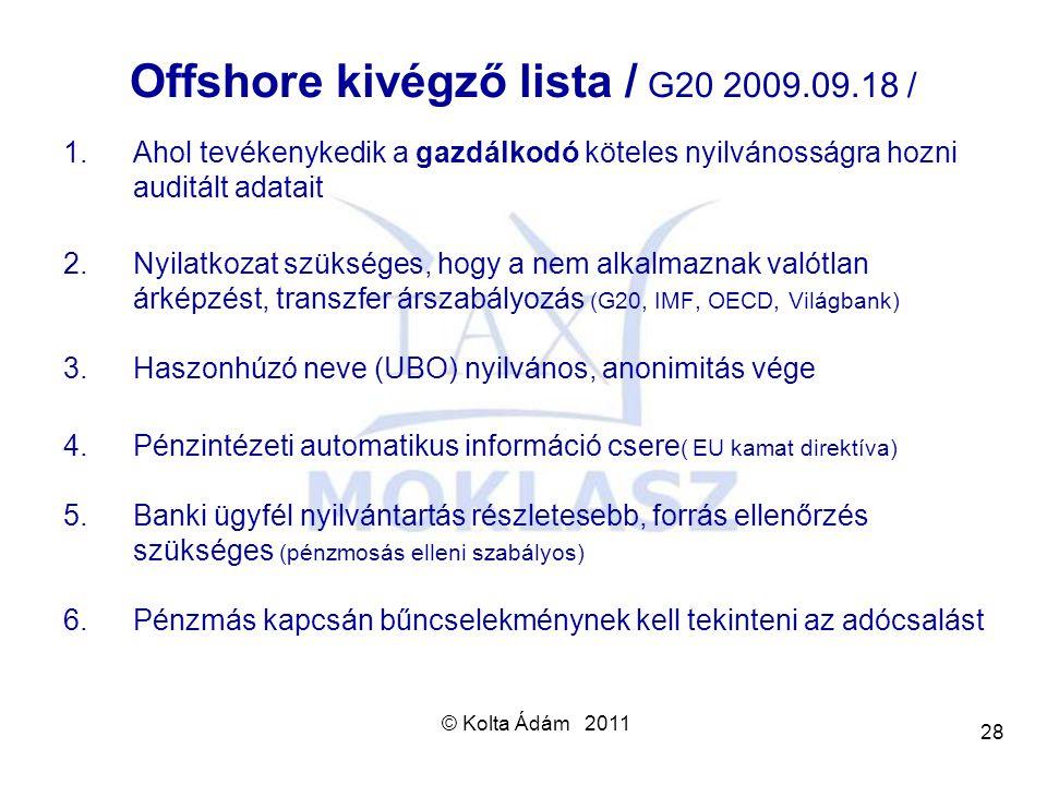 Offshore kivégző lista / G20 2009.09.18 /