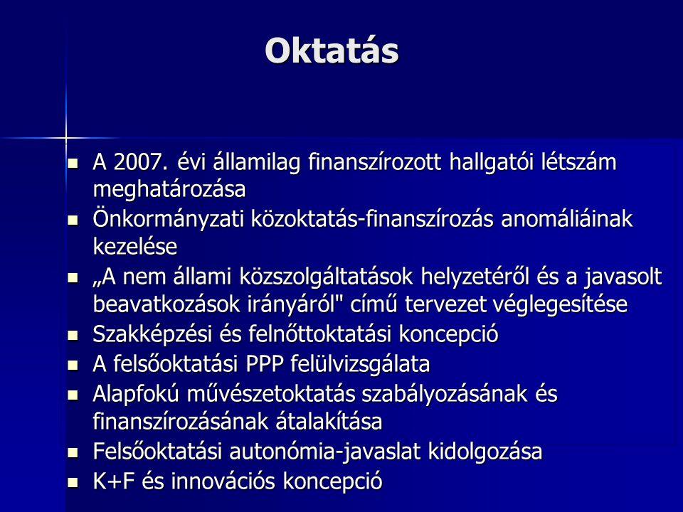 Oktatás A 2007. évi államilag finanszírozott hallgatói létszám meghatározása. Önkormányzati közoktatás-finanszírozás anomáliáinak kezelése.