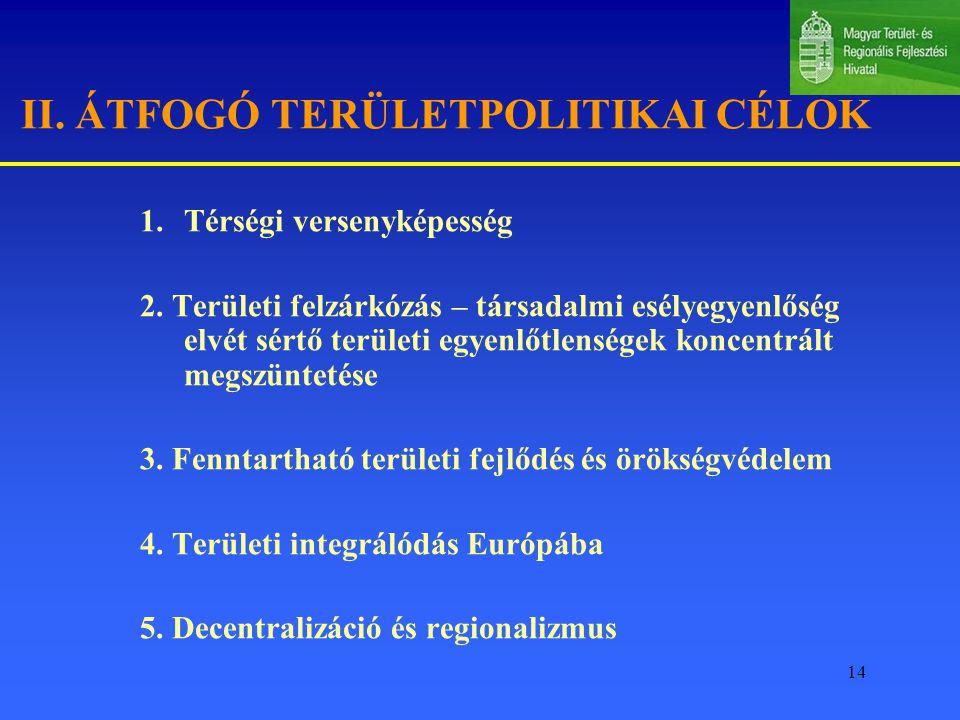 II. ÁTFOGÓ TERÜLETPOLITIKAI CÉLOK