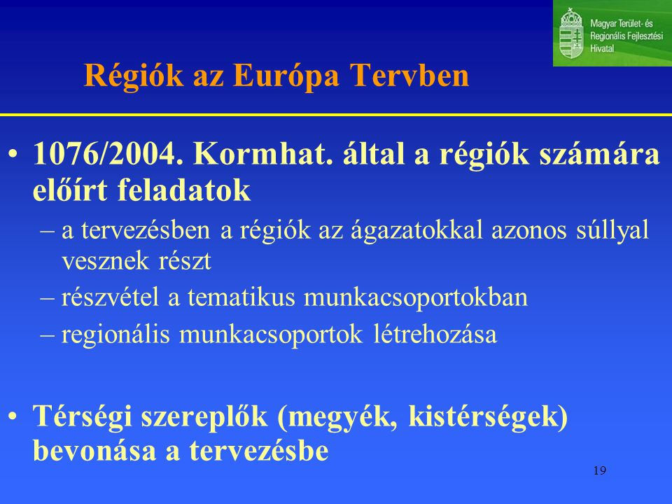 Régiók az Európa Tervben