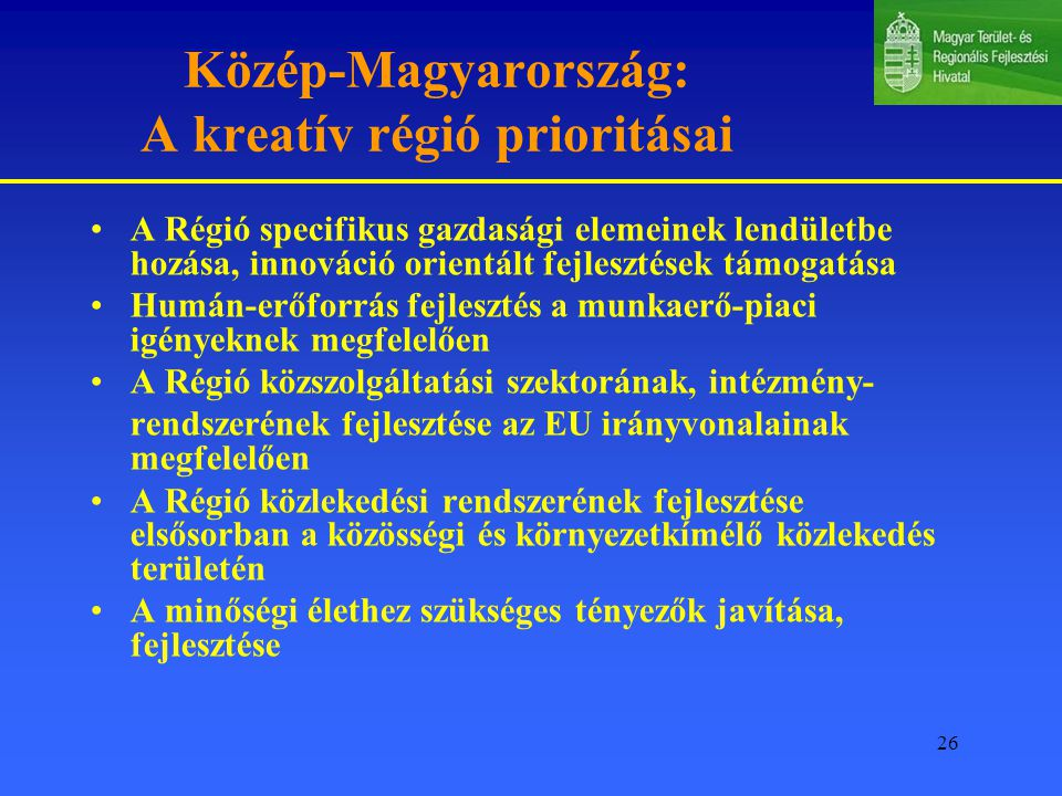 Közép-Magyarország: A kreatív régió prioritásai