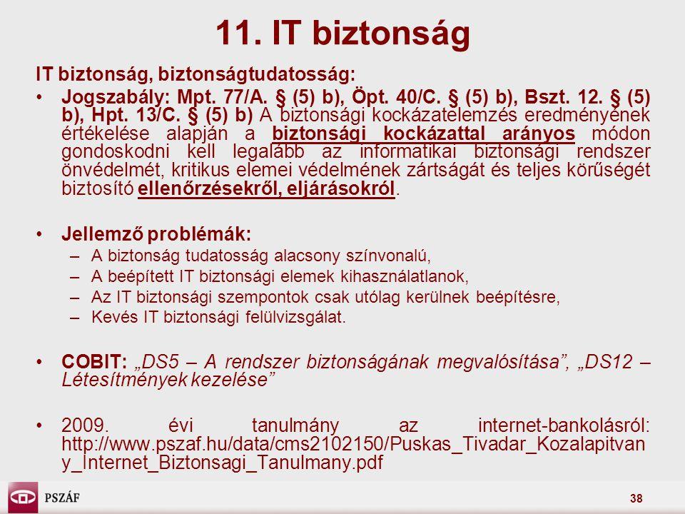 11. IT biztonság IT biztonság, biztonságtudatosság: