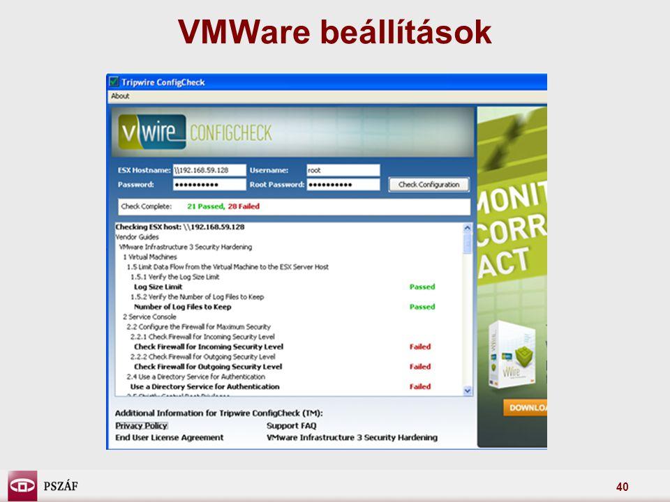 VMWare beállítások