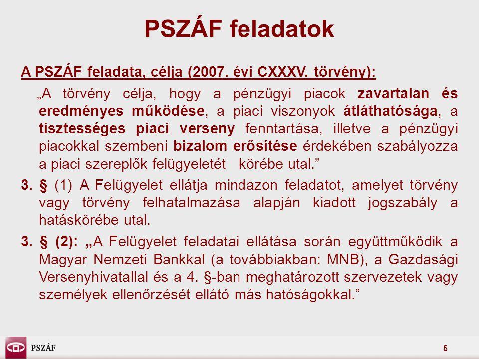 PSZÁF feladatok A PSZÁF feladata, célja (2007. évi CXXXV. törvény):