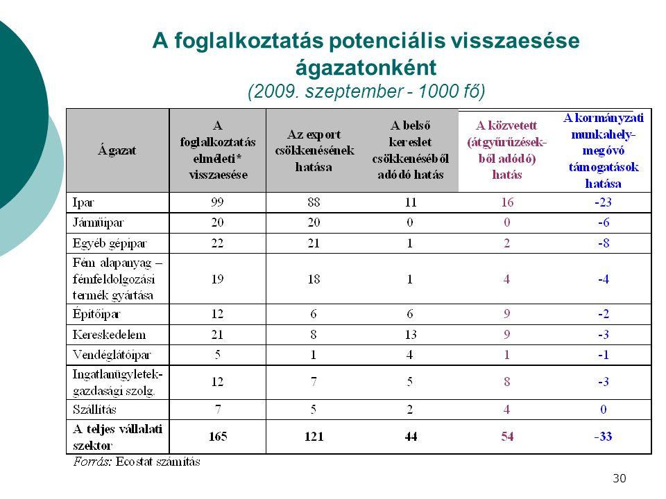 A foglalkoztatás potenciális visszaesése ágazatonként (2009