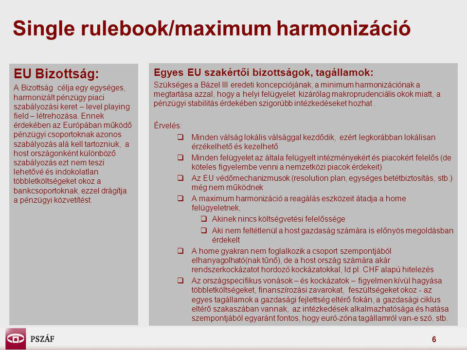 Single rulebook/maximum harmonizáció