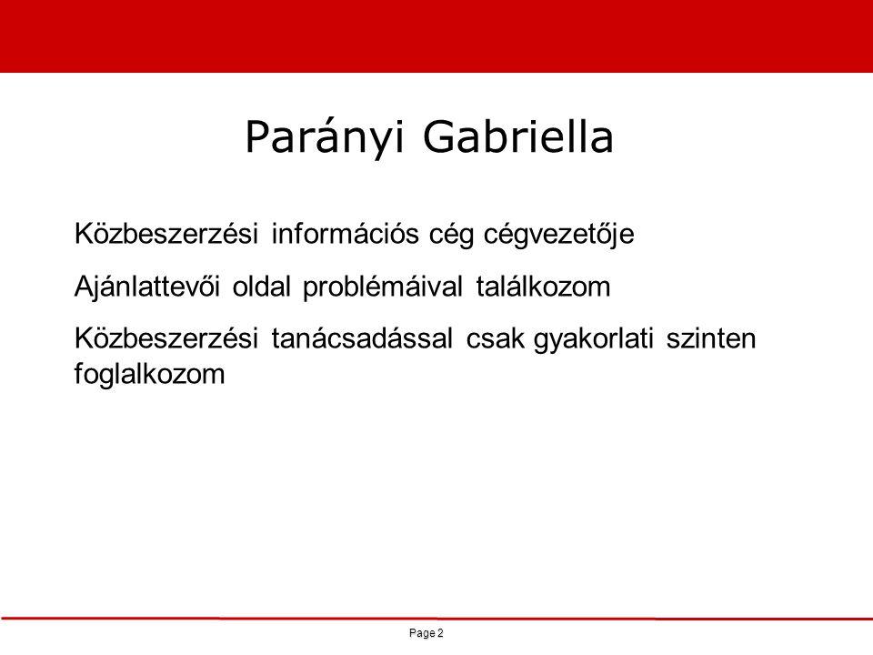 Parányi Gabriella Közbeszerzési információs cég cégvezetője