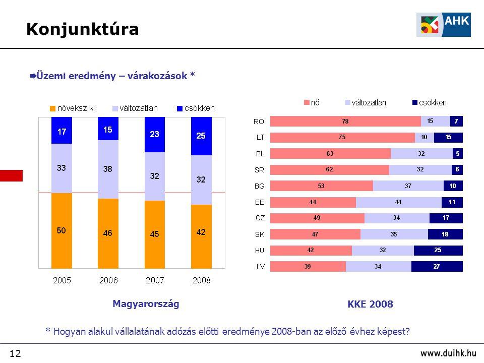 Konjunktúra Üzemi eredmény – várakozások * Magyarország KKE 2008