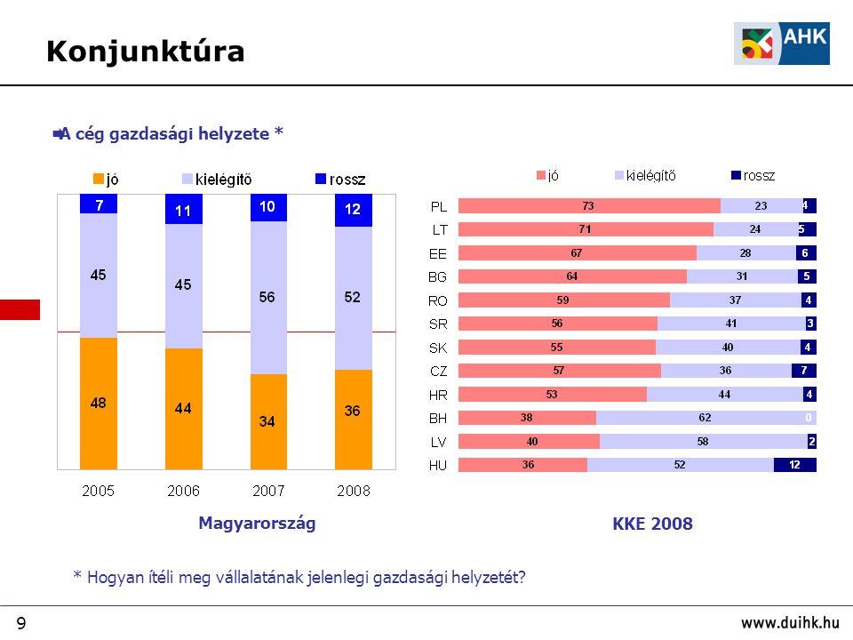 Konjunktúra A cég gazdasági helyzete * Magyarország KKE 2008