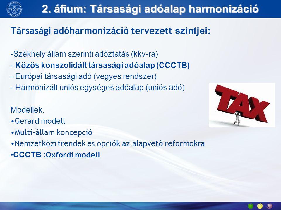 2. áfium: Társasági adóalap harmonizáció