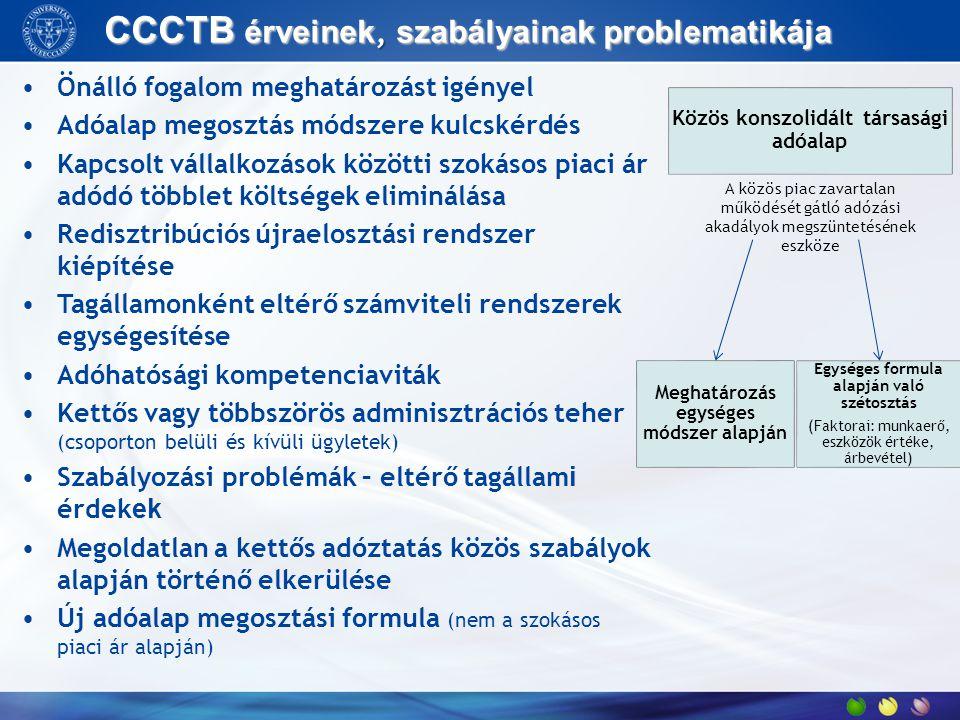 CCCTB érveinek, szabályainak problematikája