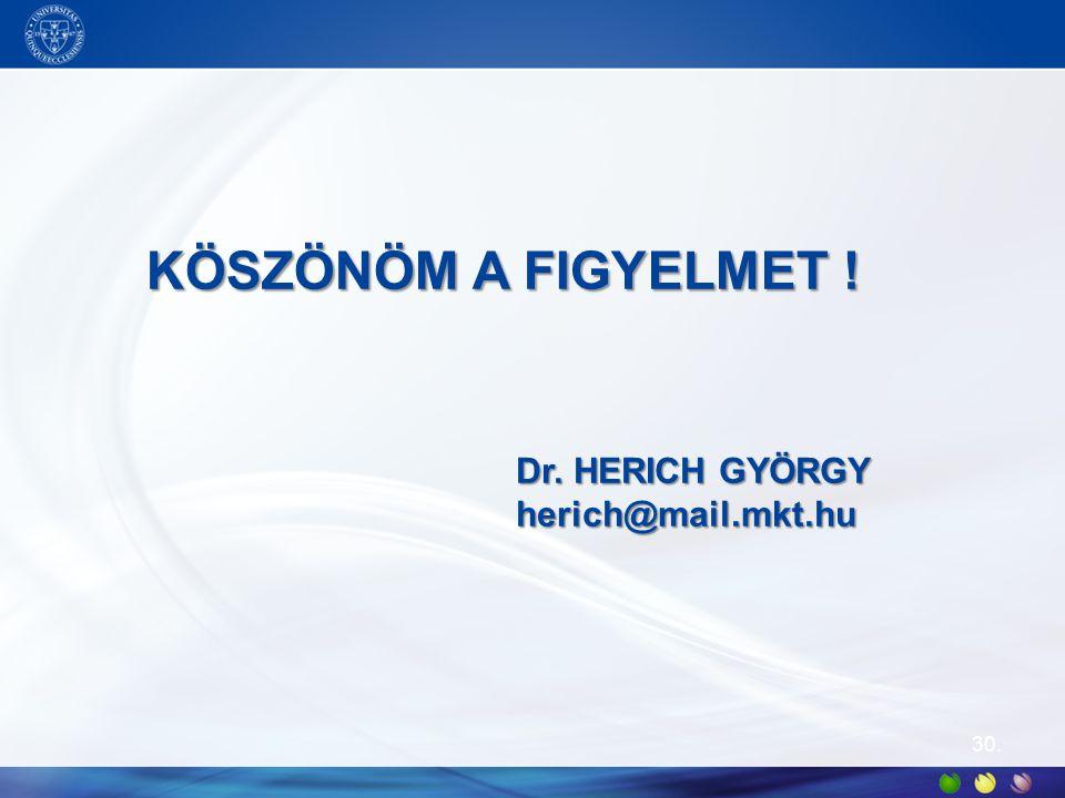 KÖSZÖNÖM A FIGYELMET ! Dr. HERICH GYÖRGY herich@mail.mkt.hu 30.