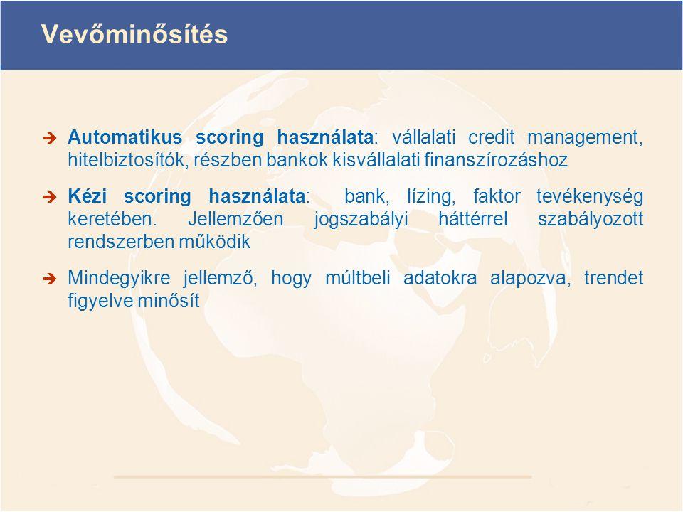 Vevőminősítés Automatikus scoring használata: vállalati credit management, hitelbiztosítók, részben bankok kisvállalati finanszírozáshoz.