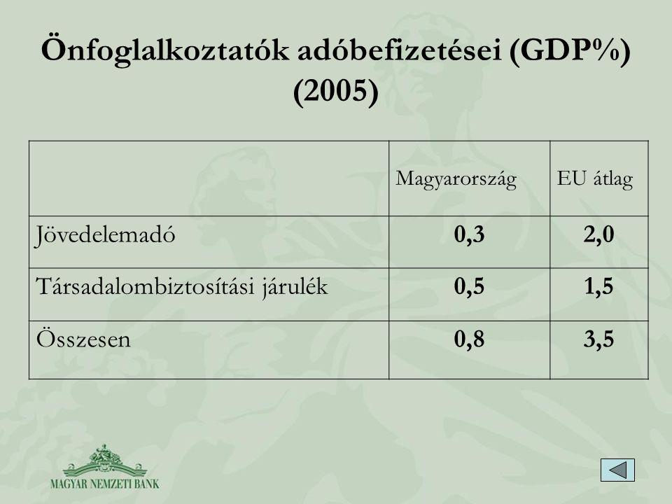 Önfoglalkoztatók adóbefizetései (GDP%) (2005)