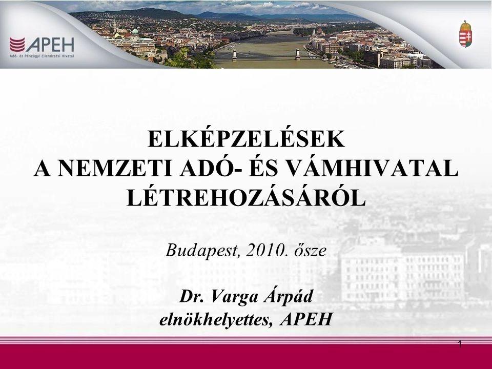 ELKÉPZELÉSEK A NEMZETI ADÓ- ÉS VÁMHIVATAL LÉTREHOZÁSÁRÓL Budapest, 2010.