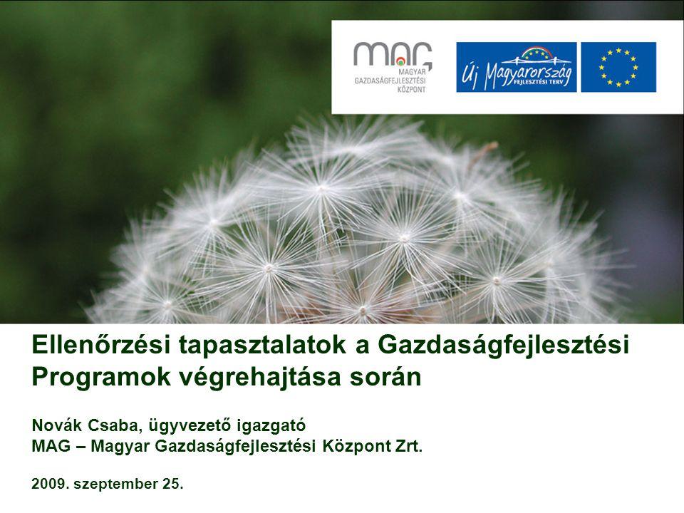 Ellenőrzési tapasztalatok a Gazdaságfejlesztési Programok végrehajtása során Novák Csaba, ügyvezető igazgató MAG – Magyar Gazdaságfejlesztési Központ Zrt. 2009. szeptember 25.