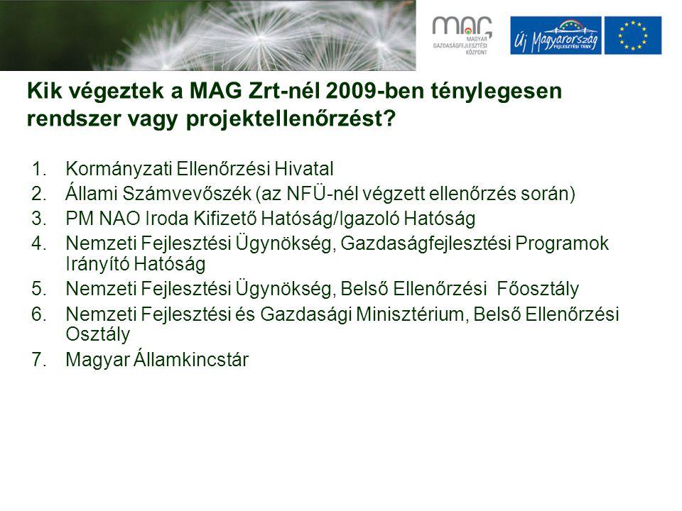Kik végeztek a MAG Zrt-nél 2009-ben ténylegesen rendszer vagy projektellenőrzést