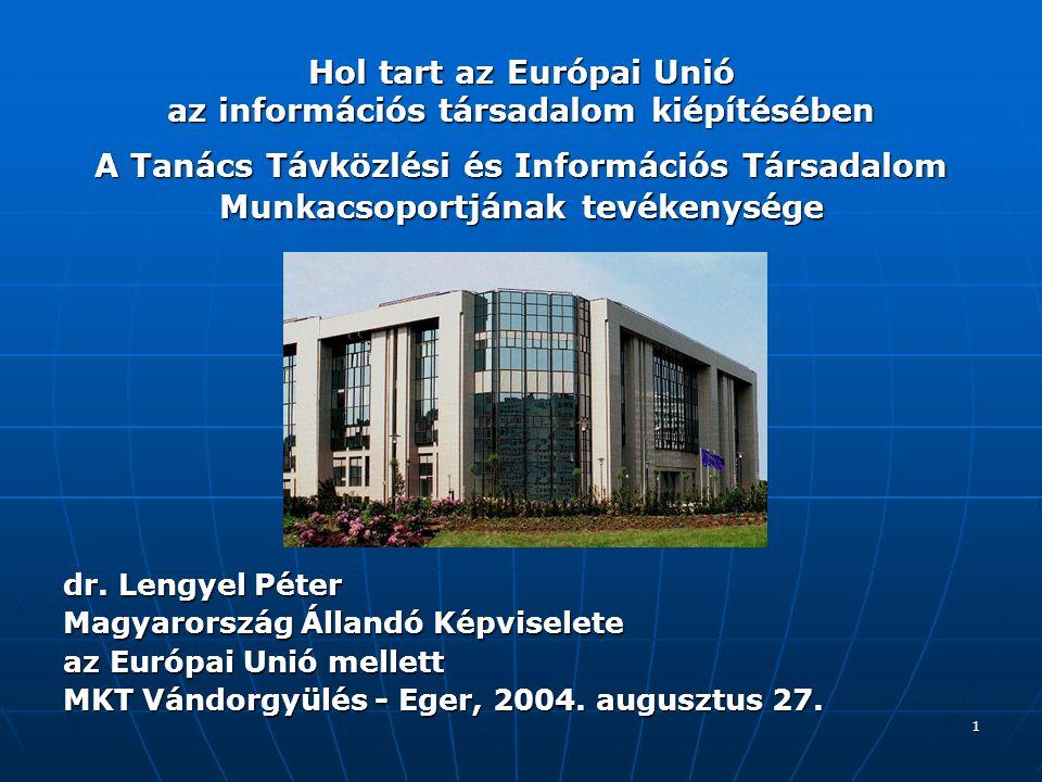 Hol tart az Európai Unió az információs társadalom kiépítésében A Tanács Távközlési és Információs Társadalom Munkacsoportjának tevékenysége