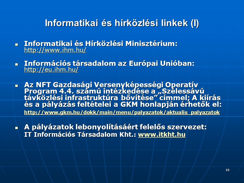 Informatikai és hírközlési linkek (I)