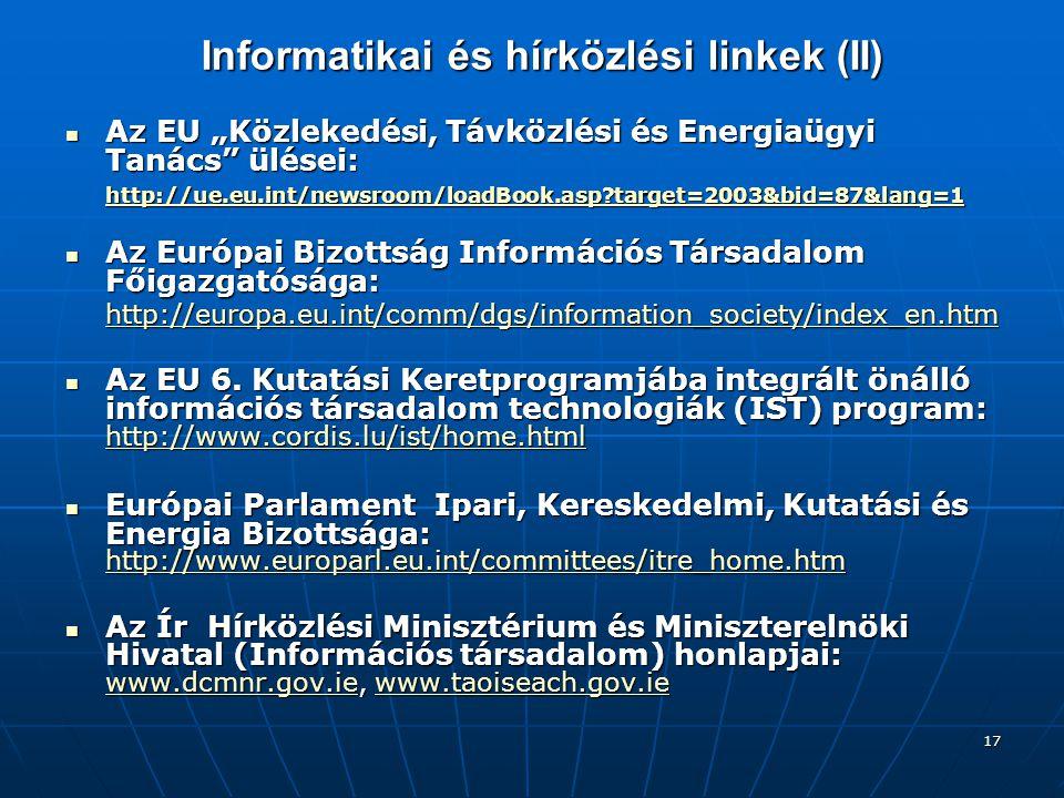 Informatikai és hírközlési linkek (II)