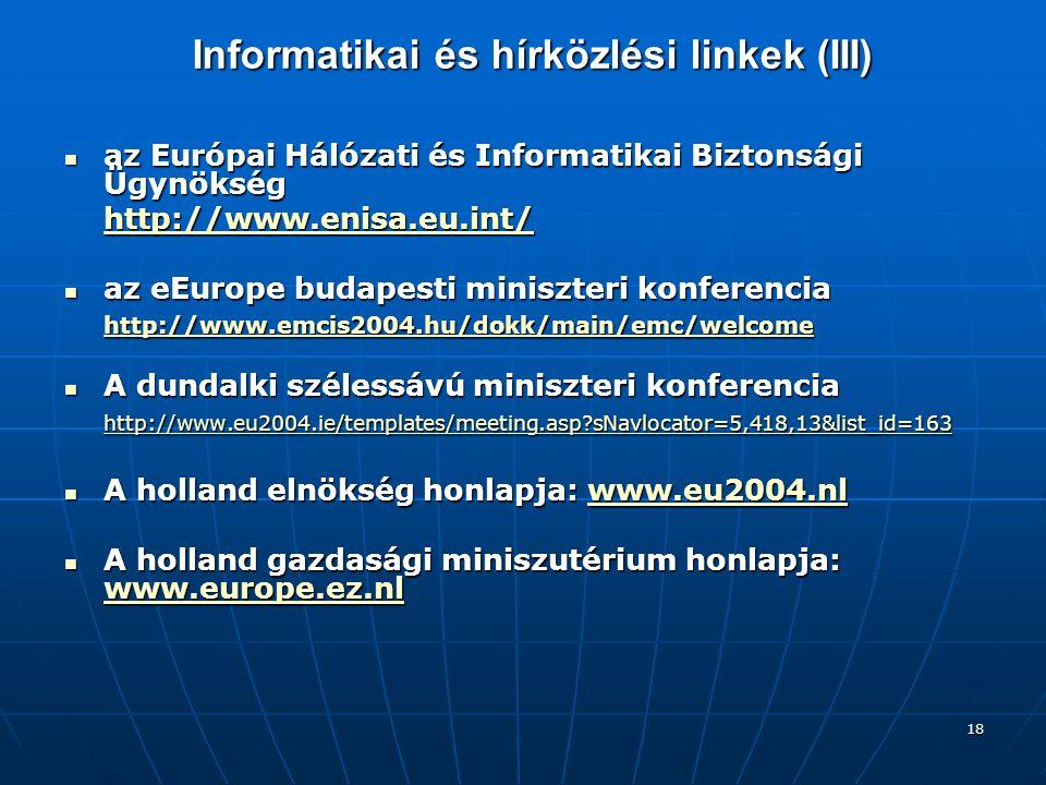 Informatikai és hírközlési linkek (III)