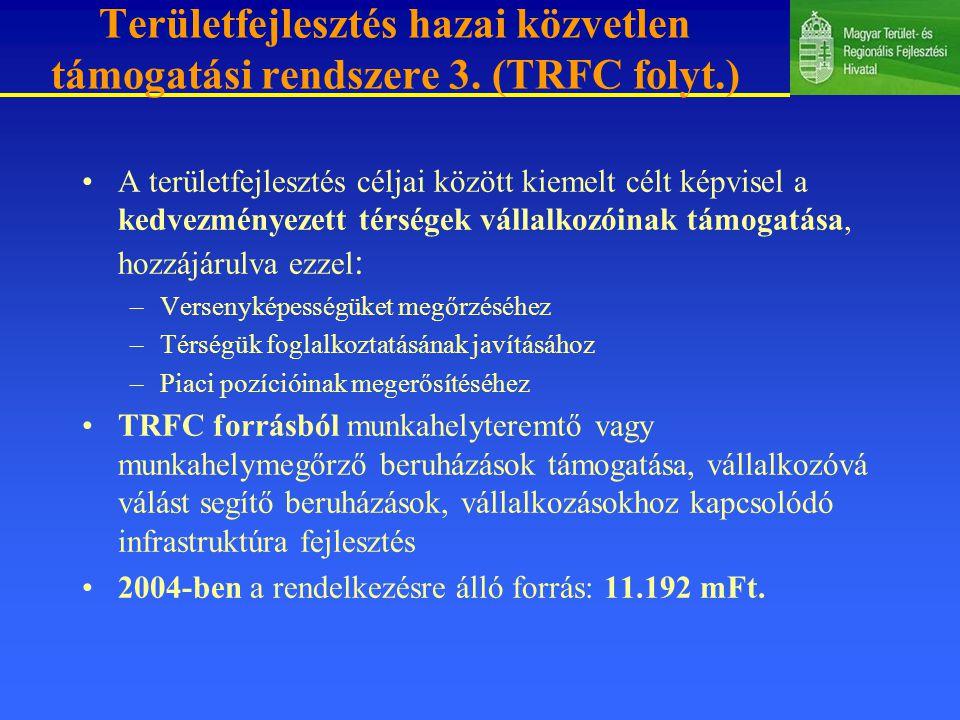 Területfejlesztés hazai közvetlen támogatási rendszere 3. (TRFC folyt