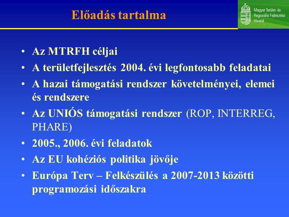 Előadás tartalma Az MTRFH céljai