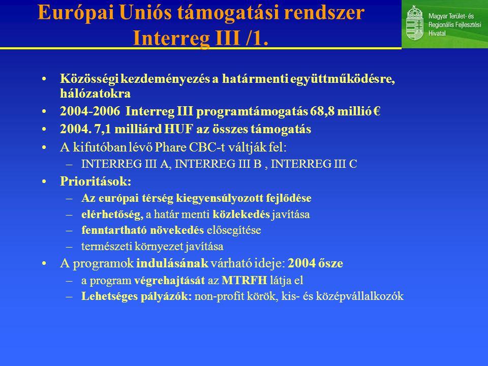 Európai Uniós támogatási rendszer Interreg III /1.