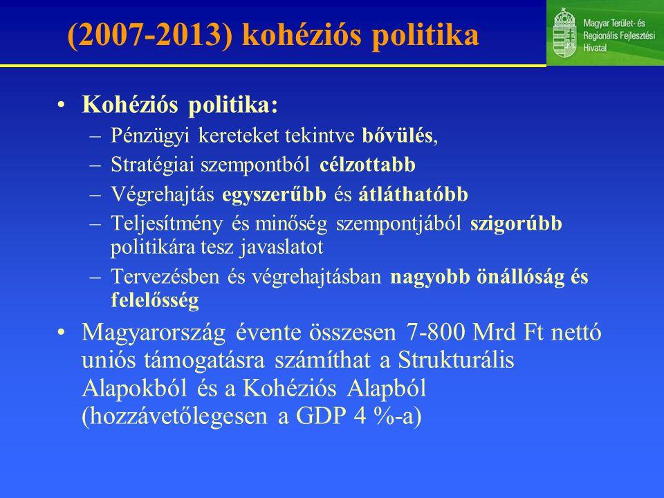 (2007-2013) kohéziós politika Kohéziós politika: