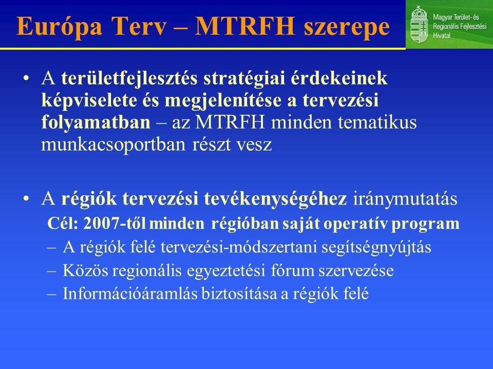 Európa Terv – MTRFH szerepe