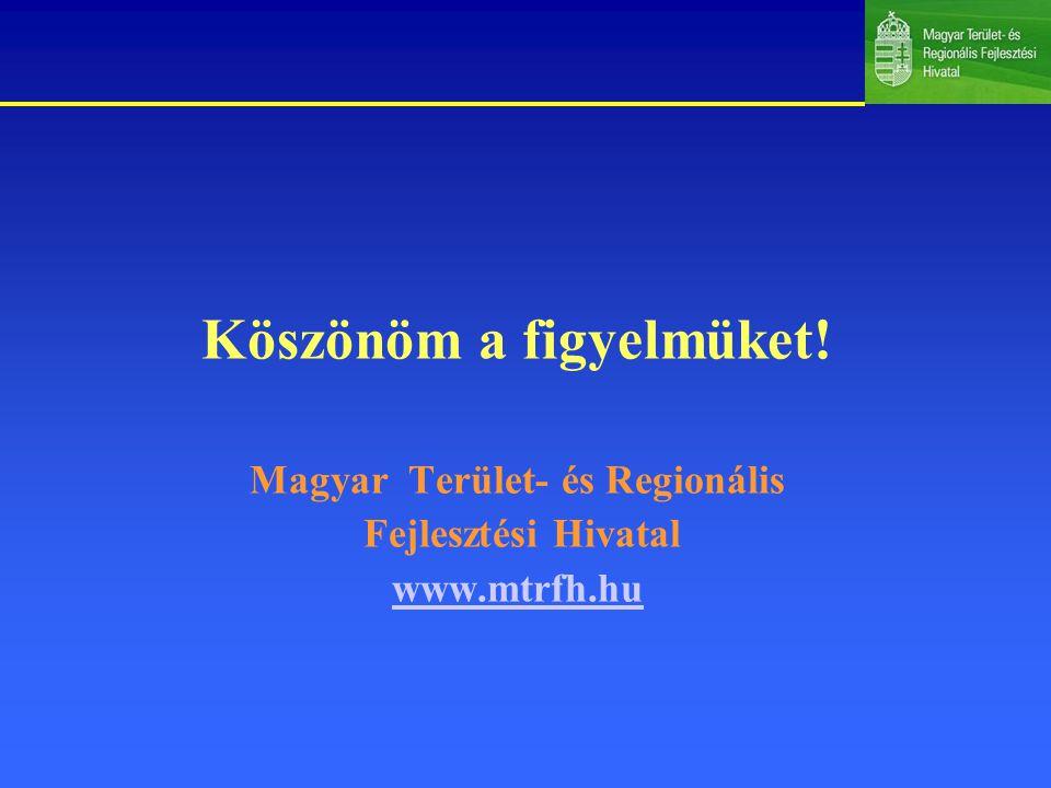 Köszönöm a figyelmüket! Magyar Terület- és Regionális