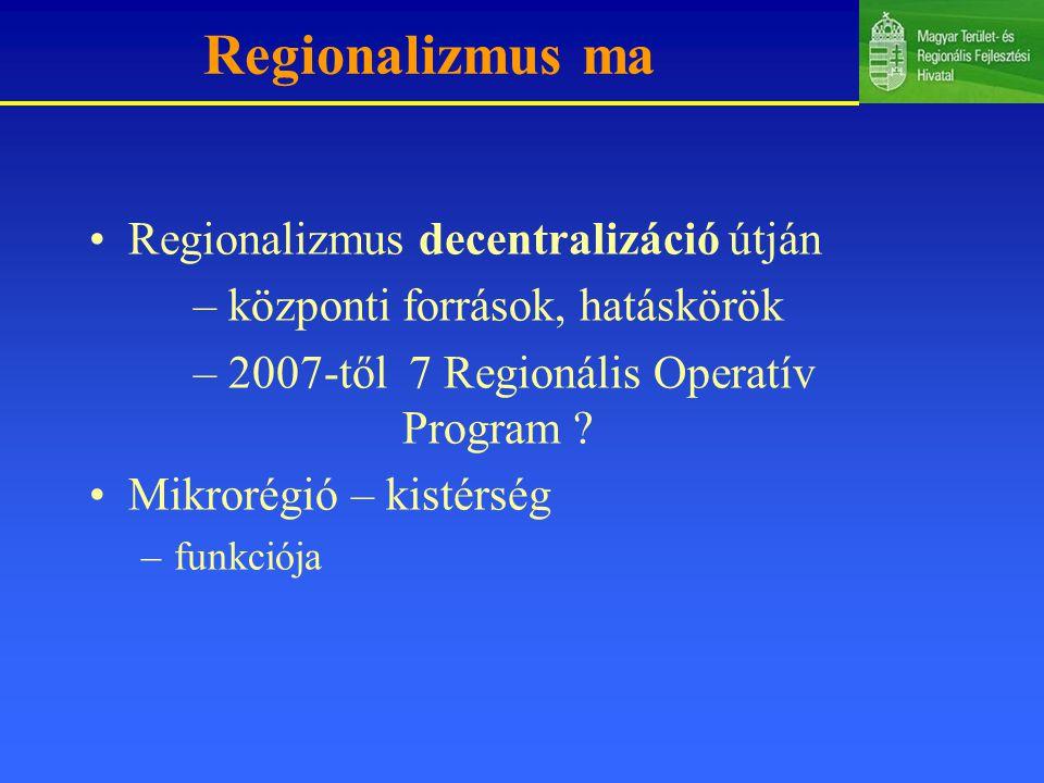 Regionalizmus ma Regionalizmus decentralizáció útján