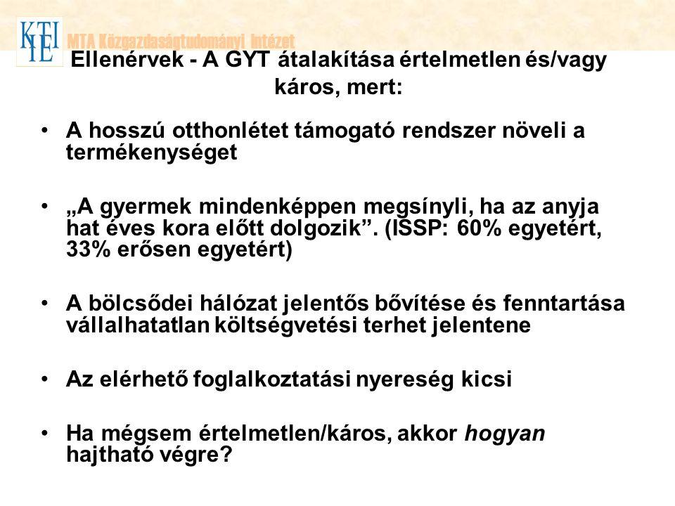 Ellenérvek - A GYT átalakítása értelmetlen és/vagy káros, mert: