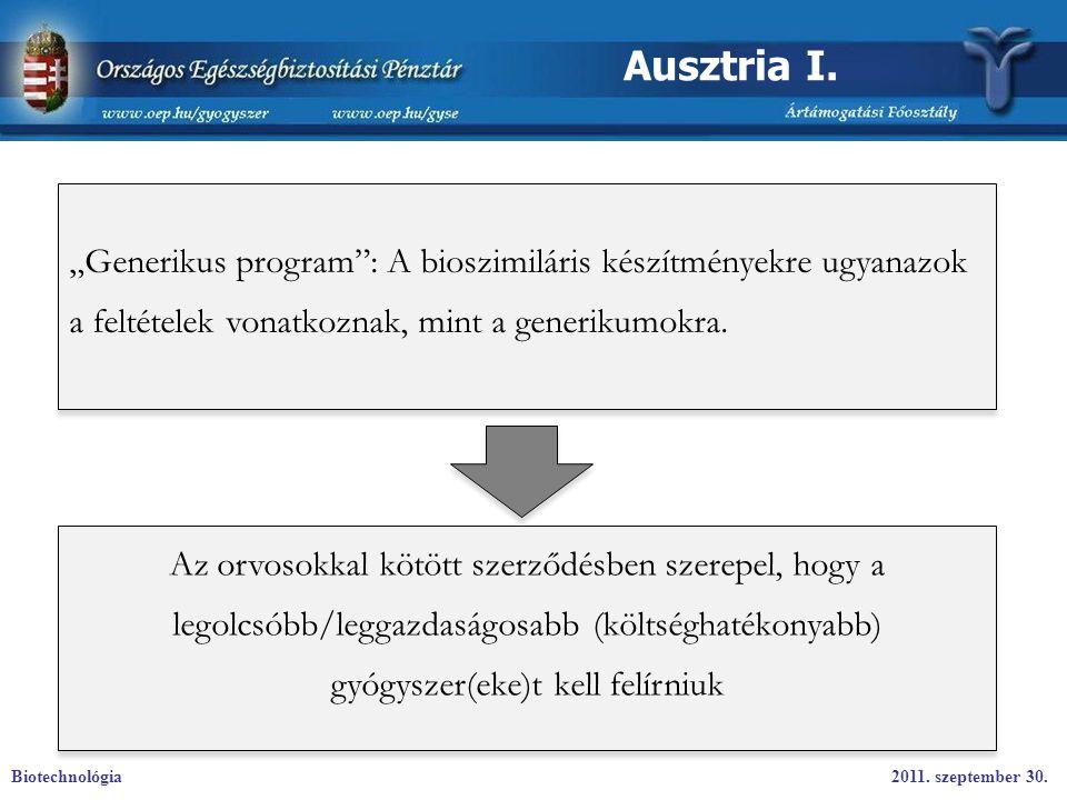 """Ausztria I. """"Generikus program : A bioszimiláris készítményekre ugyanazok a feltételek vonatkoznak, mint a generikumokra."""
