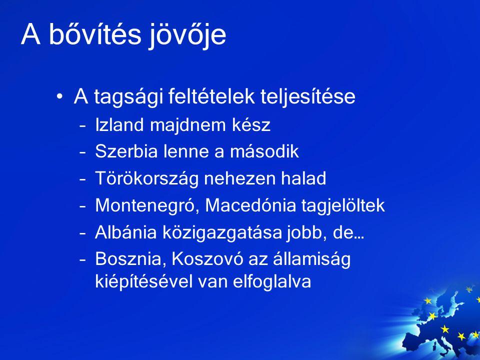 A bővítés jövője A tagsági feltételek teljesítése Izland majdnem kész