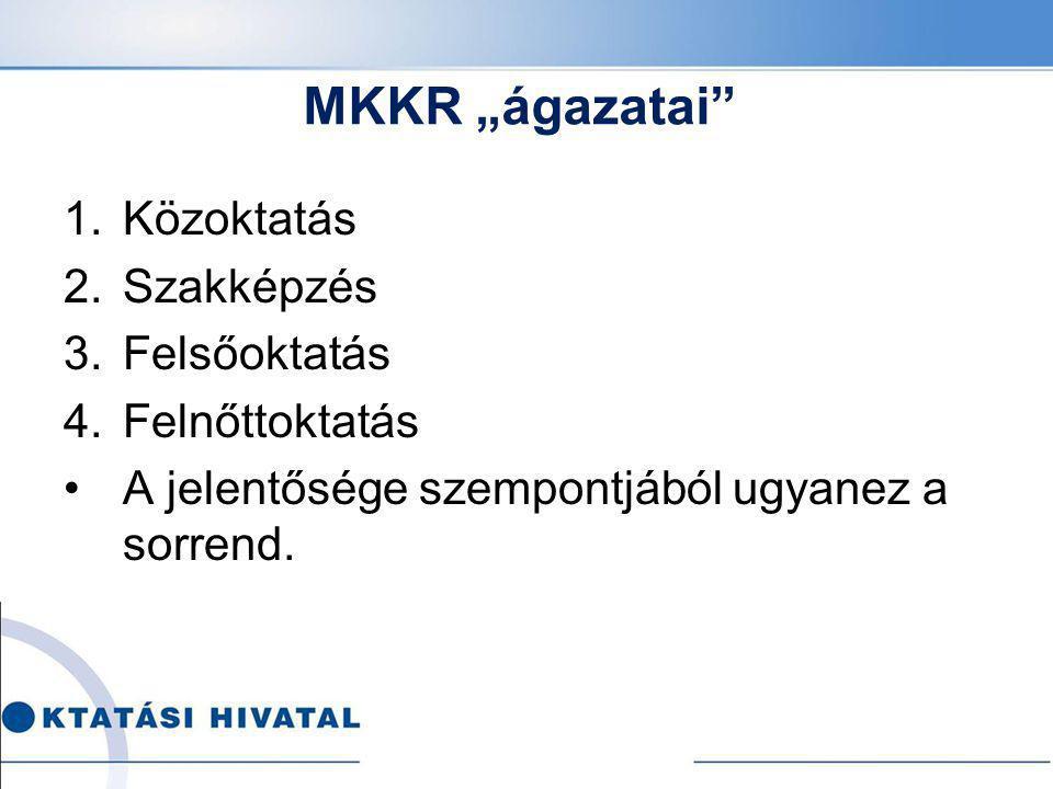 """MKKR """"ágazatai Közoktatás Szakképzés Felsőoktatás Felnőttoktatás"""