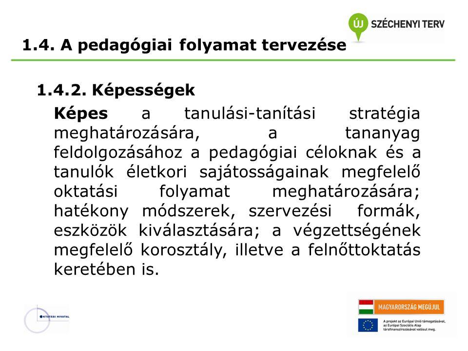 1.4. A pedagógiai folyamat tervezése