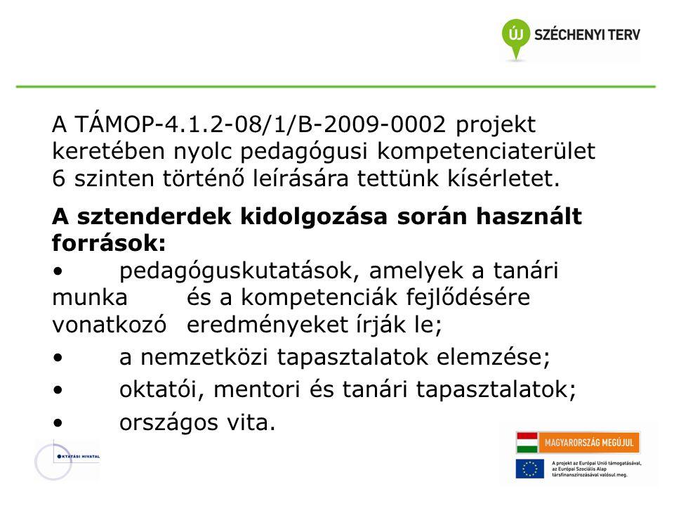 A TÁMOP-4.1.2-08/1/B-2009-0002 projekt keretében nyolc pedagógusi kompetenciaterület 6 szinten történő leírására tettünk kísérletet.