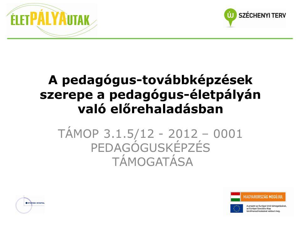 TÁMOP 3.1.5/12 - 2012 – 0001 PEDAGÓGUSKÉPZÉS TÁMOGATÁSA