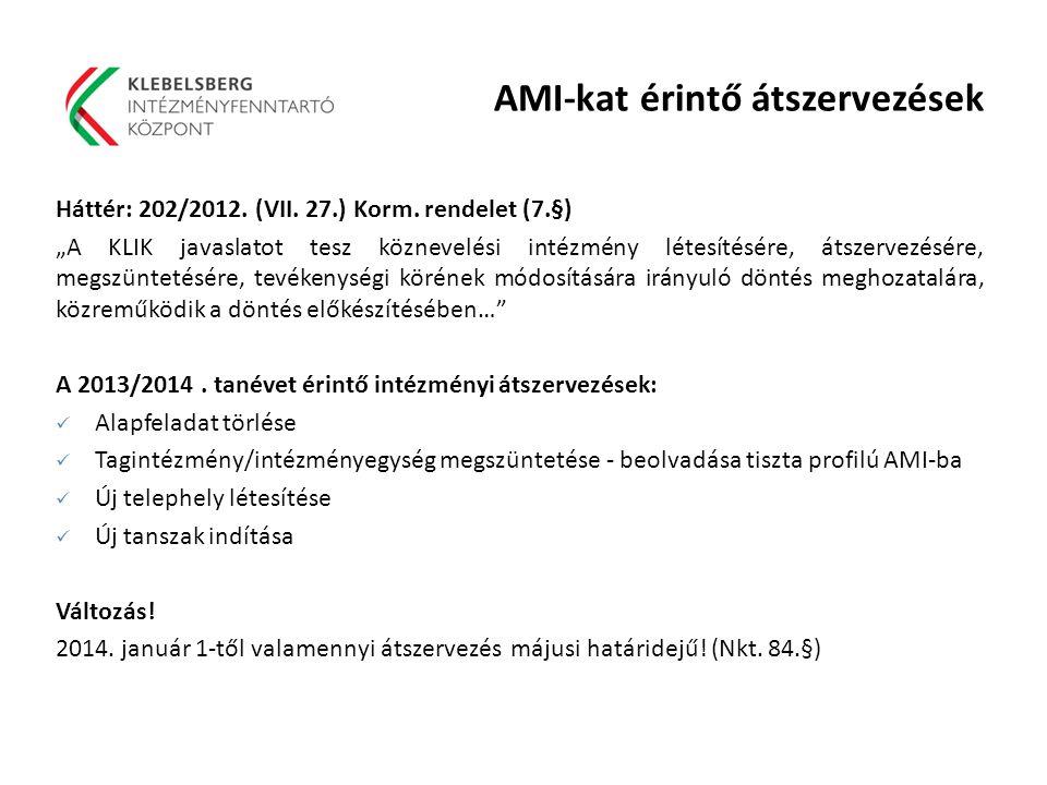 AMI-kat érintő átszervezések