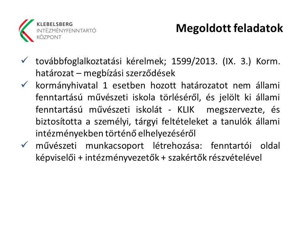 Megoldott feladatok továbbfoglalkoztatási kérelmek; 1599/2013. (IX. 3.) Korm. határozat – megbízási szerződések.