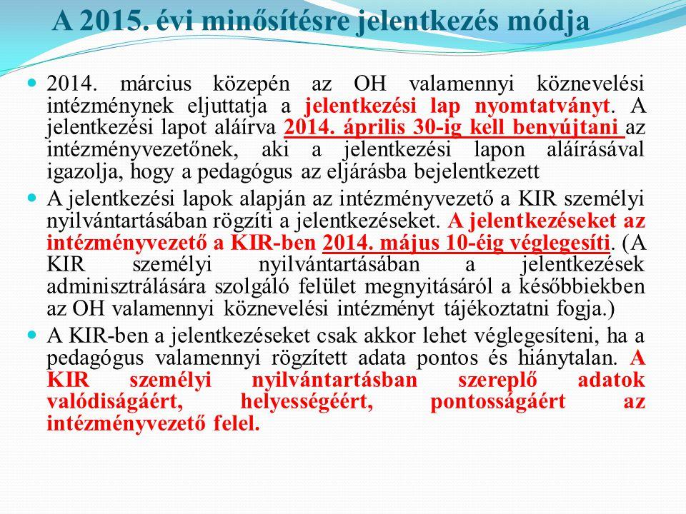 A 2015. évi minősítésre jelentkezés módja