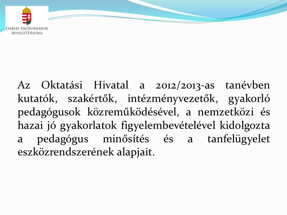 Az Oktatási Hivatal a 2012/2013-as tanévben kutatók, szakértők, intézményvezetők, gyakorló pedagógusok közreműködésével, a nemzetközi és hazai jó gyakorlatok figyelembevételével kidolgozta a pedagógus minősítés és a tanfelügyelet eszközrendszerének alapjait.