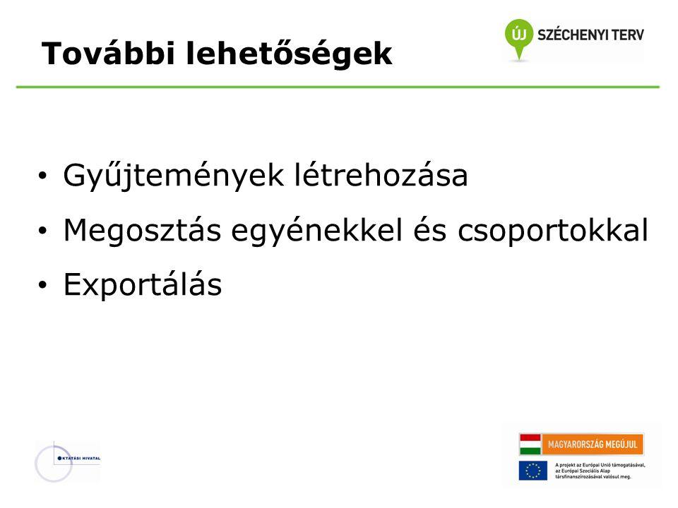További lehetőségek Gyűjtemények létrehozása Megosztás egyénekkel és csoportokkal Exportálás