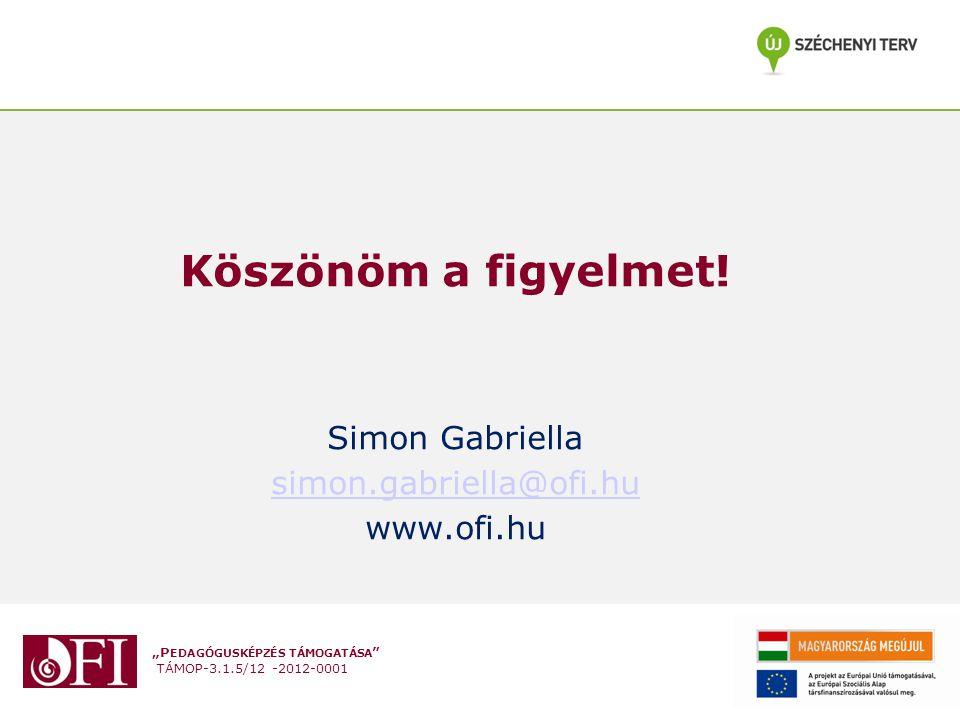 Köszönöm a figyelmet! Simon Gabriella simon.gabriella@ofi.hu