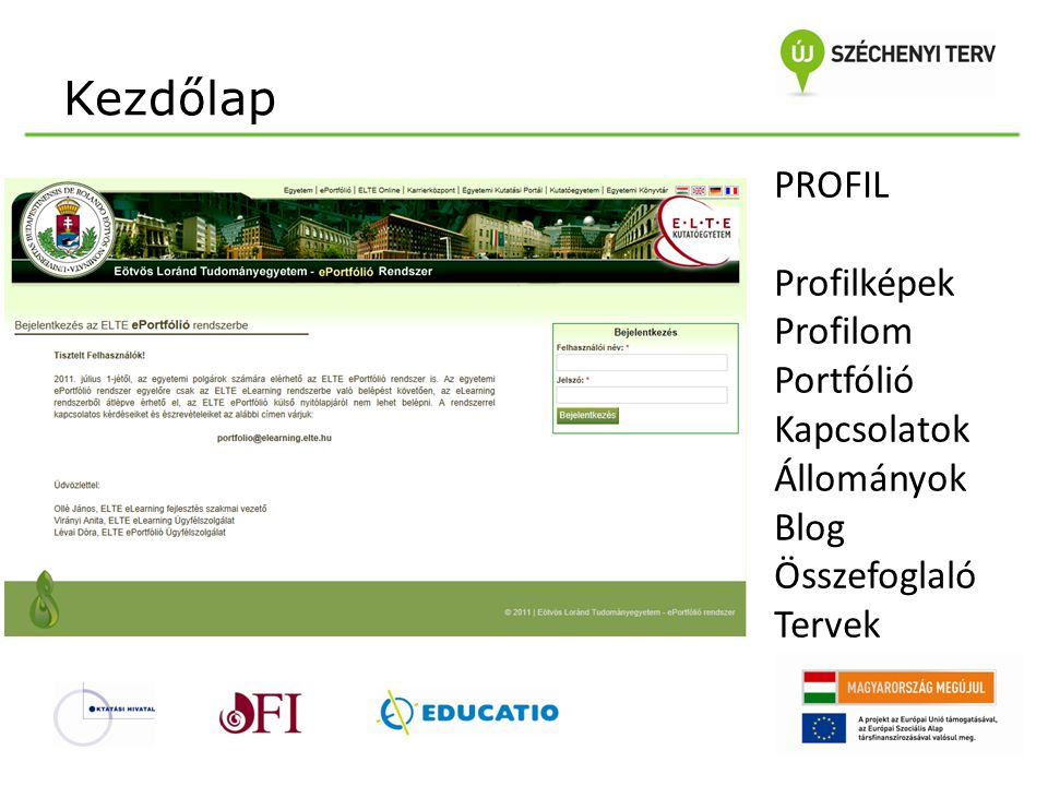 Kezdőlap PROFIL Profilképek Profilom Portfólió Kapcsolatok Állományok