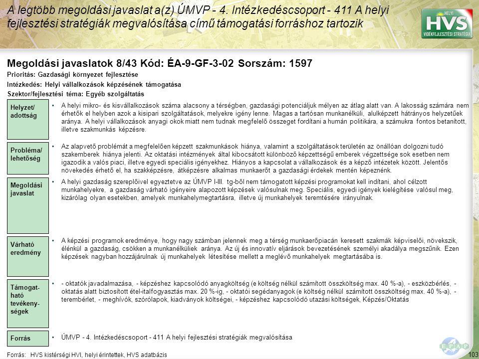 Megoldási javaslatok 8/43 Kód: ÉA-9-GF-3-02 Sorszám: 1597